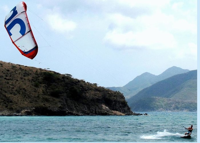 Kite Greeting Card featuring the photograph Kite Surfer St Kitts by Ian MacDonald