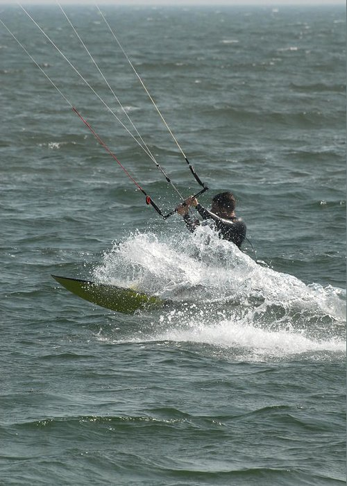 Kite Surfing Greeting Card featuring the photograph Kite Surfing 21 by Joyce StJames