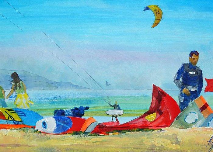 Kite Boarding Mixed Media Greeting Cards