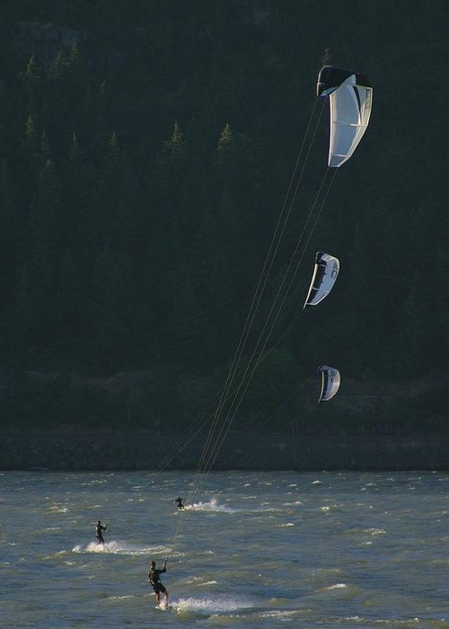 Sports Greeting Card featuring the photograph Kiteboarding On The Columbia River by Skip Brown