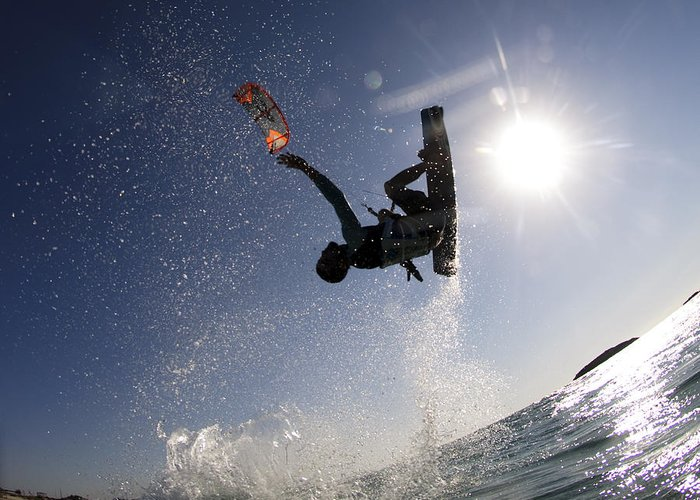 Motion Greeting Card featuring the photograph Kitesurfing In The Mediterranean Sea by Hagai Nativ