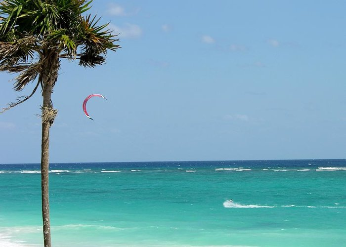 Kitesurfing Greeting Card featuring the photograph Kitesurfing The Caribbean by Keith Stokes