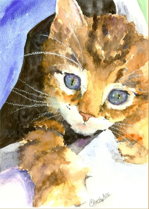 Cat Greeting Card featuring the painting Kitten In Blue by Christy Freeman