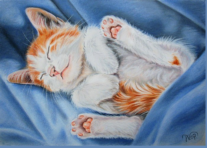 Cat Greeting Card featuring the painting Kitten Sleeping by Valentina Vassilieva