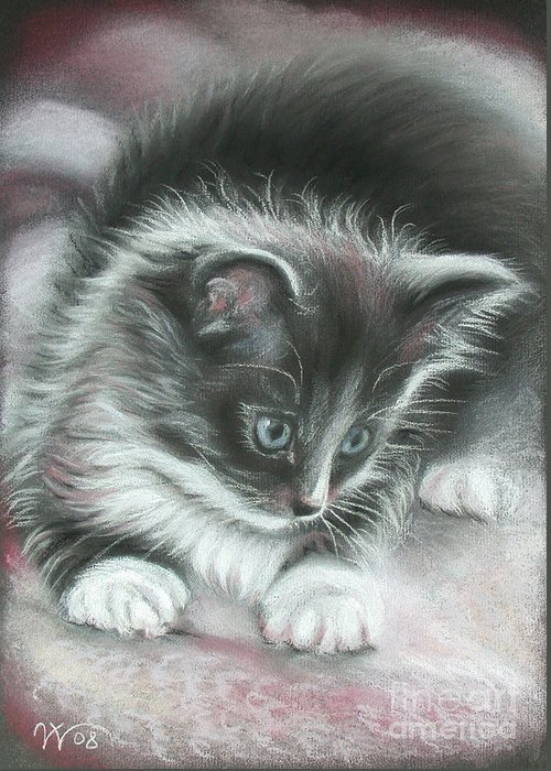 Kitten Greeting Card featuring the painting Kitten by Valentina Vassilieva