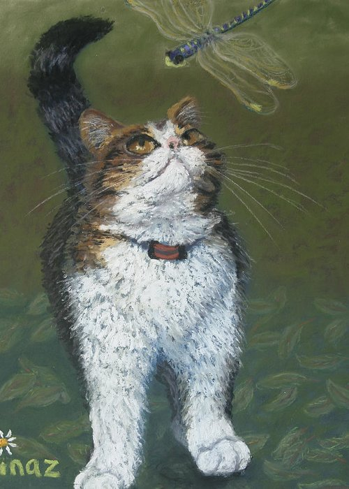 Cat Greeting Card featuring the painting Kitty And Her Dragonfly by Minaz Jantz