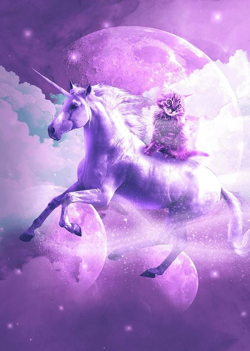 Kitty Cat Riding On Flying Space Galaxy Unicorn Greeting