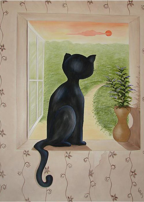 Cat Greeting Card featuring the painting Kitty In The Window by Karen R Scoville