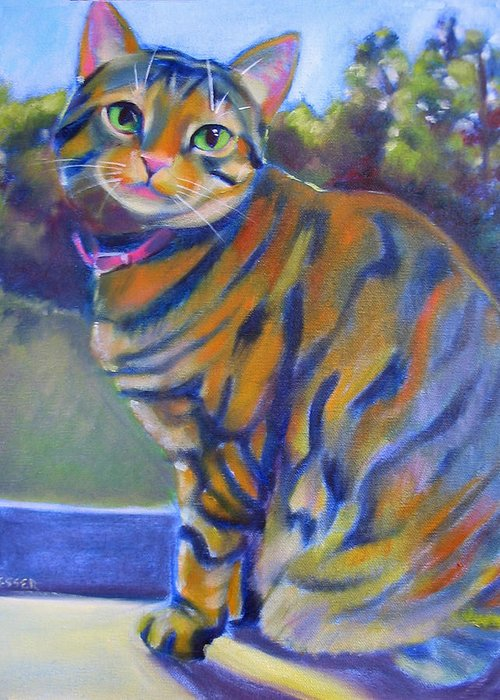 Tabby Cat Greeting Card featuring the painting Kitty In The Window by Kaytee Esser