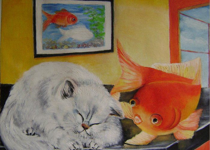Fantasy Greeting Card featuring the painting Kitty's Dream by Lian Zhen