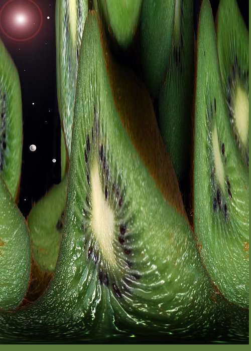 Kiwi Fruit Greeting Card featuring the photograph Kiwi Space by Terence Davis