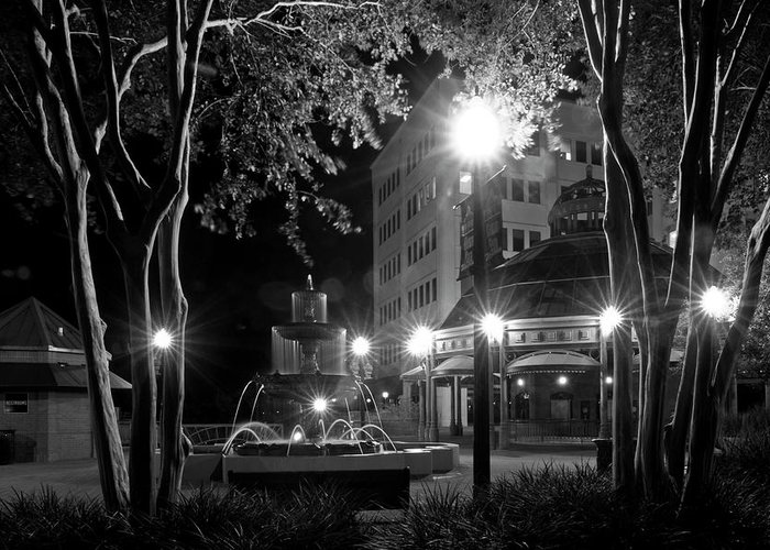 Black And White Photography Greeting Card featuring the photograph Kleman Plaza At Night by Wayne Denmark