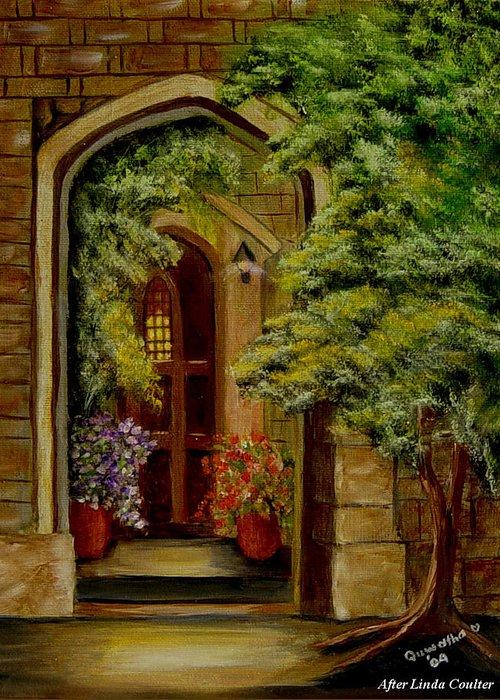 Door Greeting Card featuring the painting Knight's Door by Quwatha Valentine