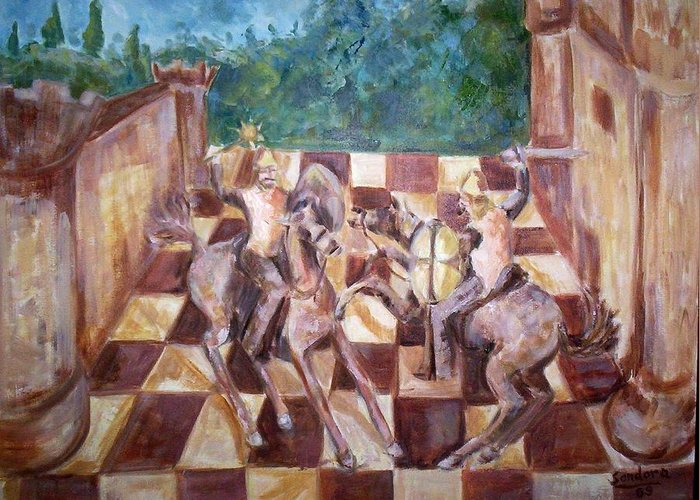 Landscape Greeting Card featuring the painting Knights by Joseph Sandora Jr