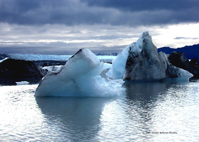 Ice Greeting Card featuring the photograph Knik Glacier Icebergs by Dianne Roberson