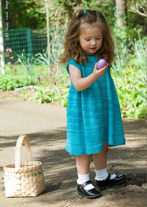 Purple Egg. Easter. Little Girl. Wonder. The Hunt. Basket. Greeting Card featuring the photograph Knitdress by Delton Maddox