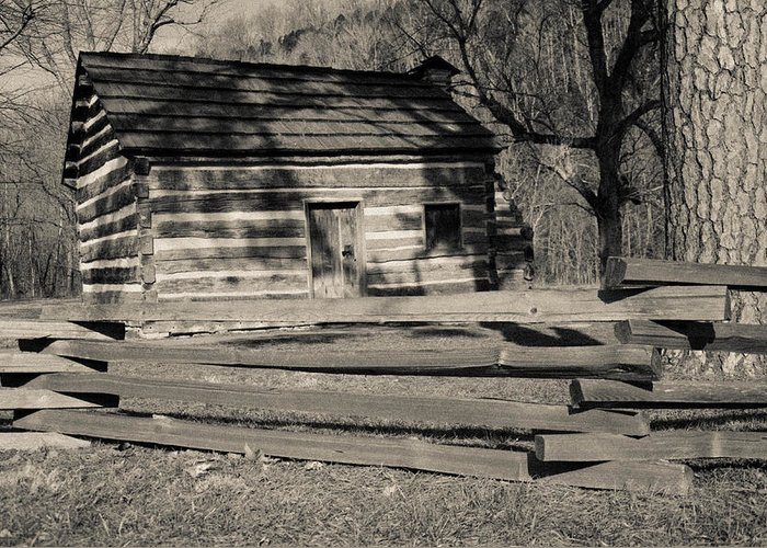 Lincoln Greeting Card featuring the photograph Knob Creek Cabin by Mark Bowmer