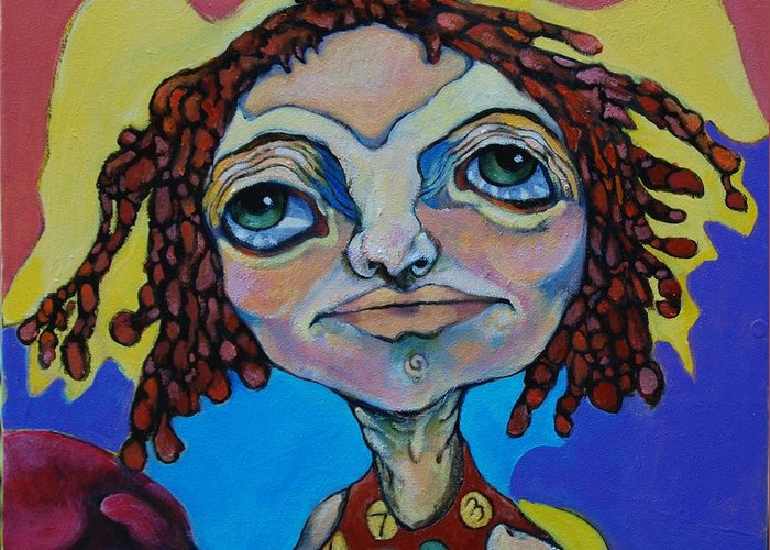 Circle Head Greeting Card featuring the painting Knock Out by Michelle Spiziri