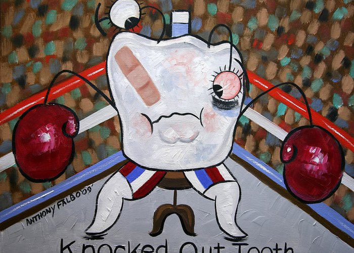 Dental Art Collectable Teeth Tooth Nurse Paintings Prints Posters Canvas Anthony Falbo Famous Artist Falboart Dentist Greeting Card featuring the painting Knocked Out Tooth by Anthony Falbo