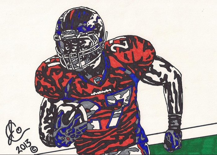 American Football Greeting Card featuring the drawing Knowshon Moreno 2 by Jeremiah Colley