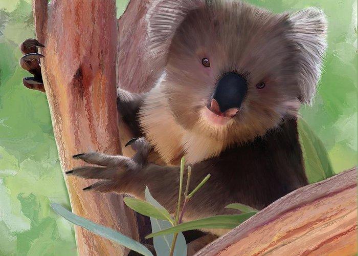 Koala Greeting Card featuring the painting Koala Painting by Michael Greenaway