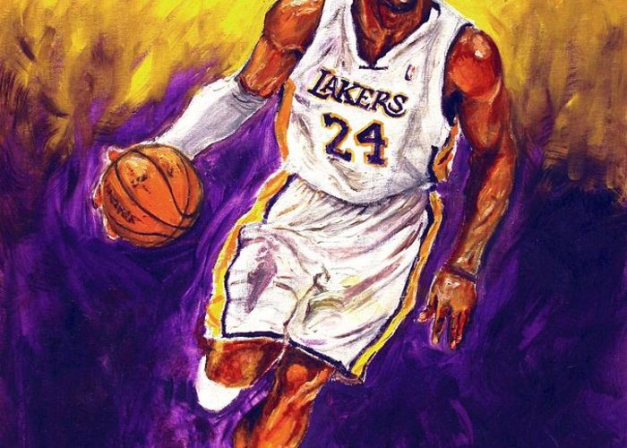 Kobe Bryant Greeting Card featuring the painting Kobe by Brian Child
