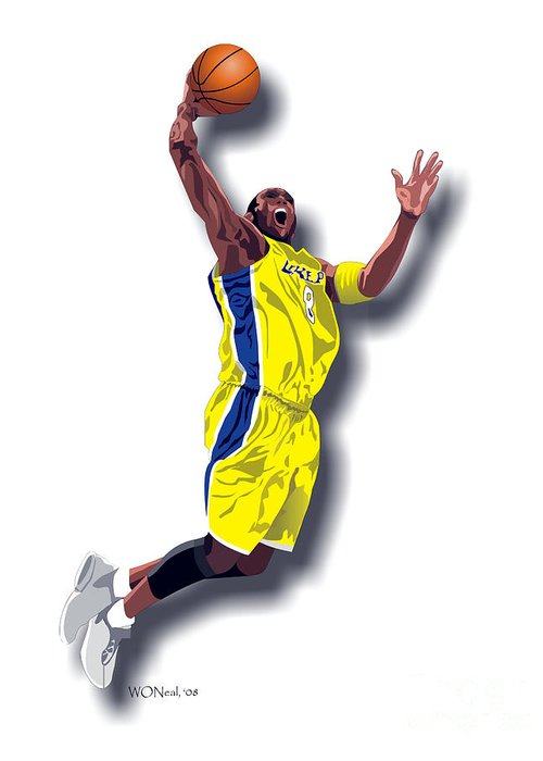Male Portraits Greeting Card featuring the digital art Kobe Bryant 8 by Walter Oliver Neal