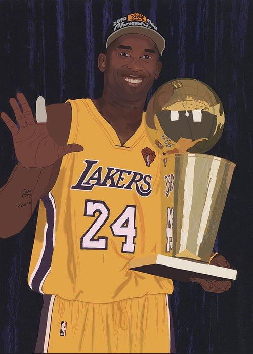Kobe Bryant Greeting Card featuring the digital art Kobe Bryant Five Championships by Tomas Raul Calvo Sanchez