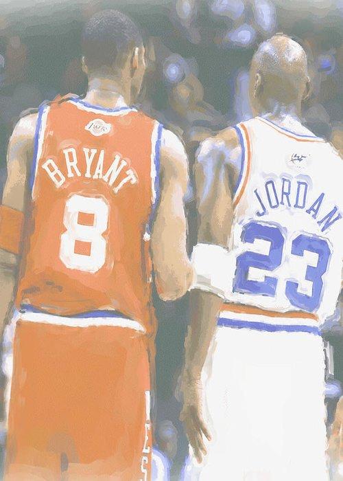 Kobe Bryant Greeting Card featuring the photograph Kobe Bryant Michael Jordan 2 by Joe Hamilton