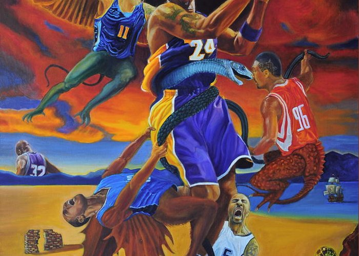Kobe Bryant Greeting Card featuring the painting Kobe Defeating The Demons by Luis Antonio Vargas