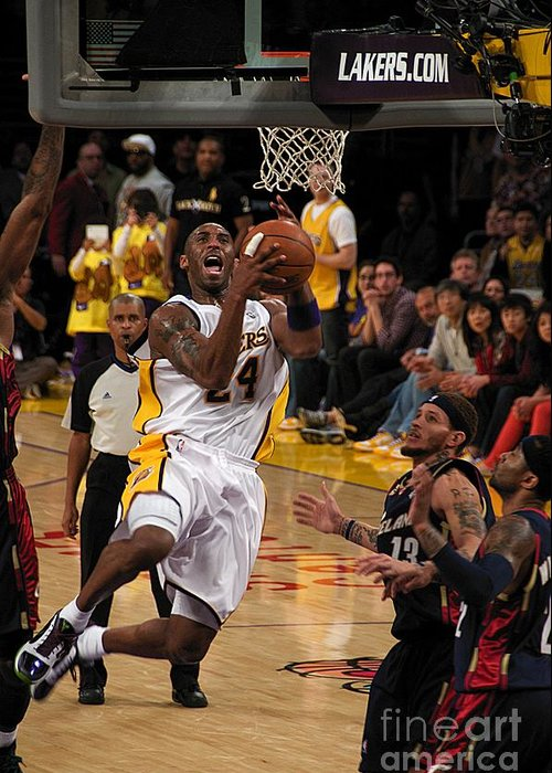 Lakers Greeting Card featuring the photograph Kobe by Marc Bittan