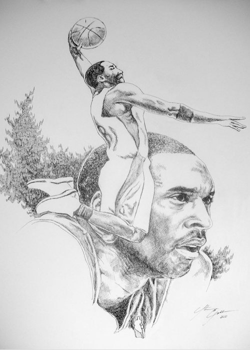 Kobe Bryant Greeting Card featuring the drawing Kobe by Otis Cobb