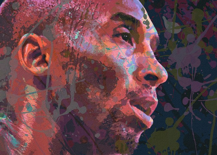 Kobe Bryant Abstract Paintings Greeting Cards
