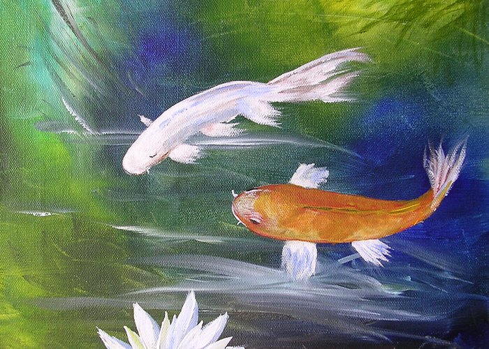 Painting Greeting Card featuring the painting Kohaku Koi And Water Lily by Barbara Harper