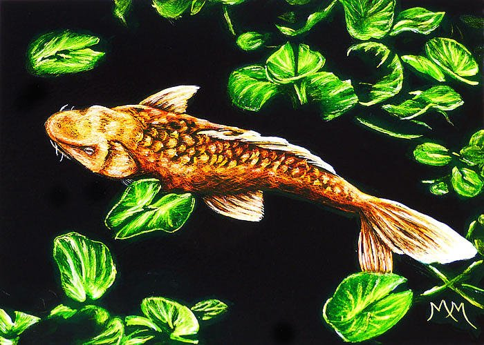 Fish Greeting Card featuring the painting Koi - Sa107 by Monique Morin Matson