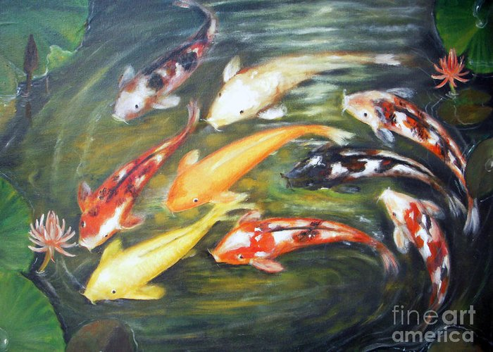 Koi Greeting Card featuring the painting Koi 1 by Edy Sutowo