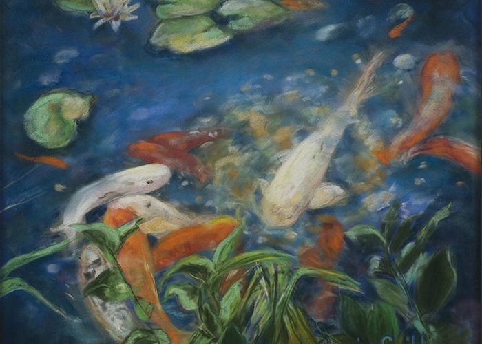 Fish Greeting Card featuring the painting koi by Gloria Smith