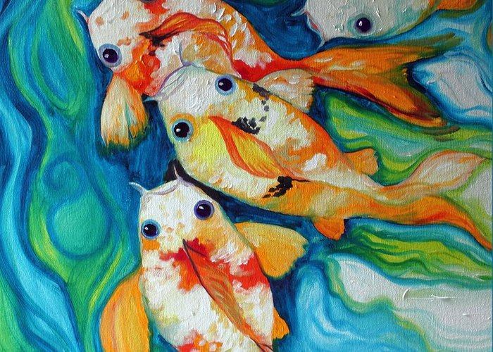 Fish Greeting Card featuring the painting Koi Inny Minny Miney Moe by Marcia Baldwin