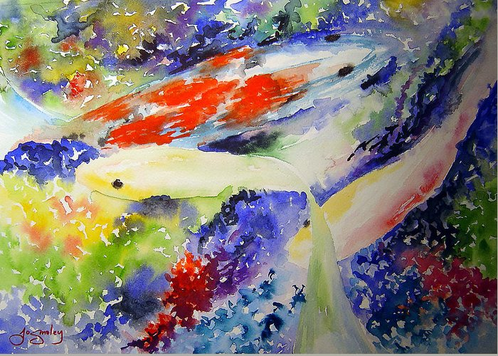 Koi Greeting Card featuring the painting Koi by Joanne Smoley