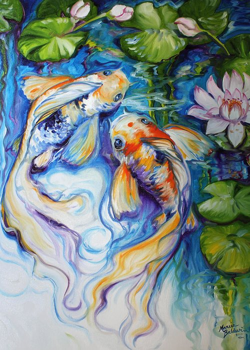 Koi Greeting Card featuring the painting KOI KOI and LILY by Marcia Baldwin