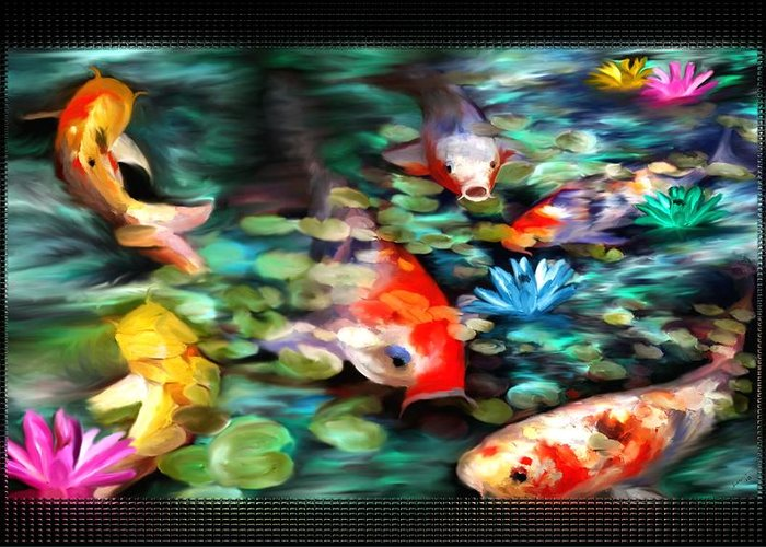 Koi Greeting Card featuring the painting Koi Paradise by Susan Kinney