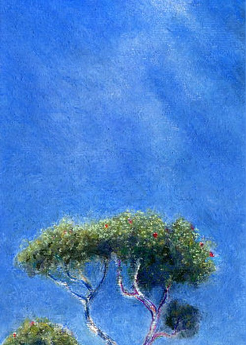 Rainbow Colors Pastel Greeting Card featuring the painting Kokee Trees by Kenneth Grzesik