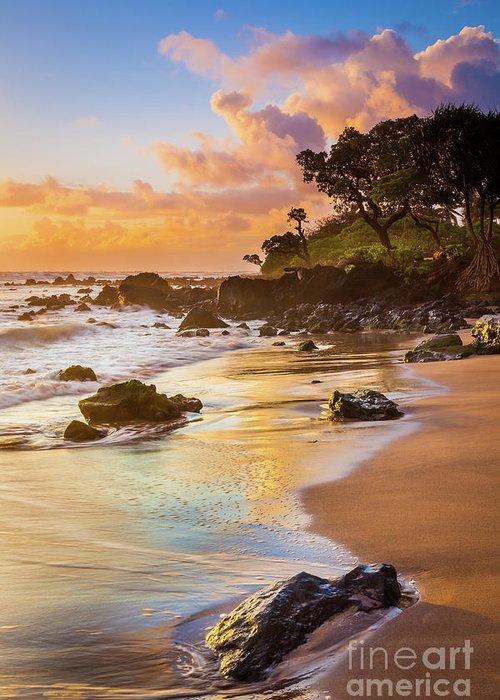 America Greeting Card featuring the photograph Koki Beach Sunrise by Inge Johnsson