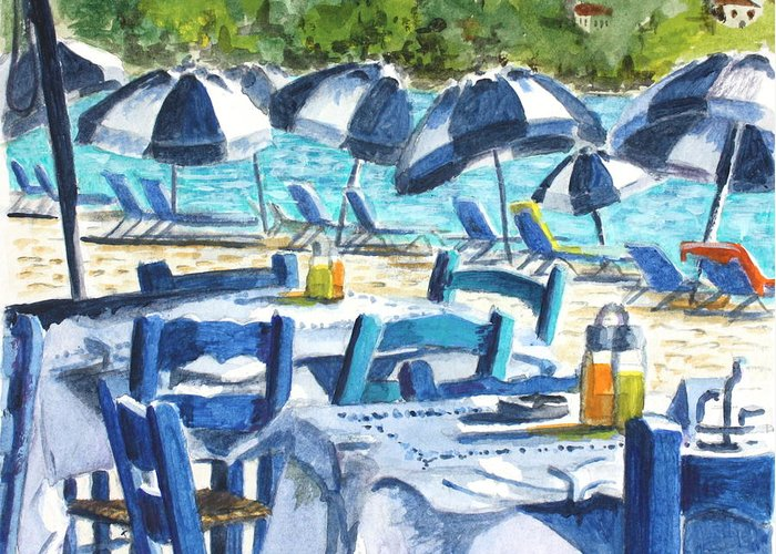 Blue Greeting Card featuring the painting Kolios Blue by Yvonne Ayoub