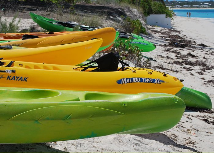 Greens And Yellows Greeting Card featuring the photograph Kolorful Kayaks by Nancy Barch