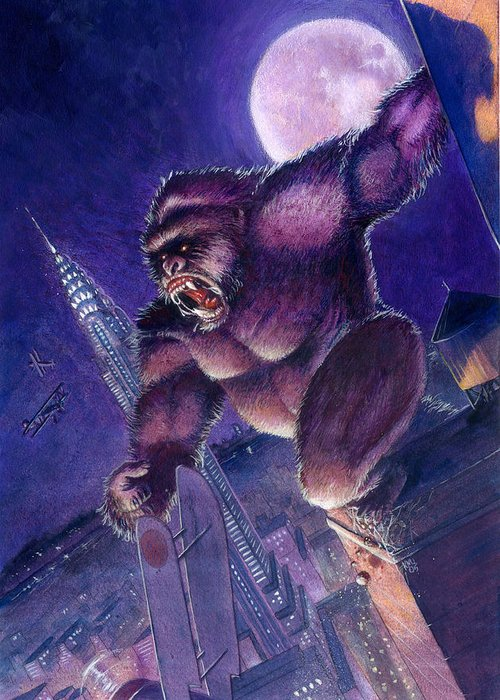 King Kong Greeting Card featuring the painting Kong by Ken Meyer
