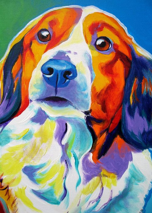 Dog Greeting Card featuring the painting Kooiker - Dakota by Alicia VanNoy Call
