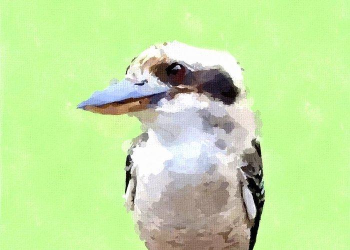 Kookaburra Greeting Card featuring the painting Kookaburra by Chris Butler