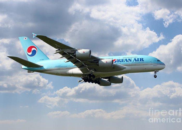 Airbus Greeting Card featuring the digital art Korean Air Airbus A380 by J Biggadike