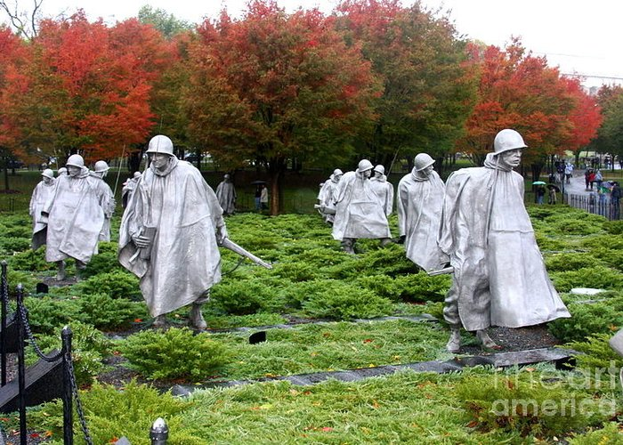 This Is A Photo Of The Korean War Memorial In Washington D.c. Greeting Card featuring the photograph Korean War Memorial by William Rogers